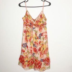 HALE BOB Floral Beaded 100% Silk Mini Dress